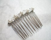 Clear Crystal and Pearl Hair Comb