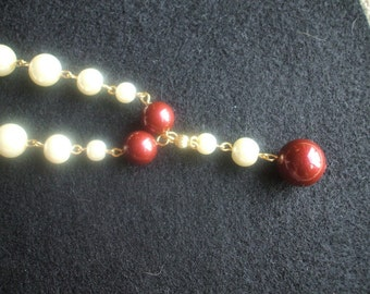 Ivory and Bordeaux Pearl Necklace