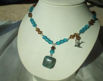 SALE Crazy Lace Agate Deep Turquoise Blue Necklace