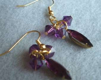 Amethyst Crystal drop earrings Gorgeous Vintage Looking