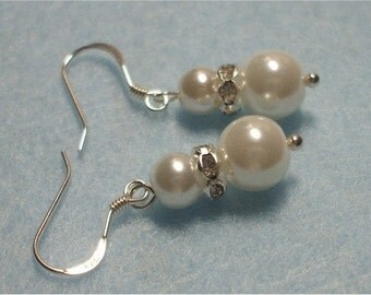 Gorgeous White Pearl Drop Earrings with Crystal Bling Spacer Sterling Silver