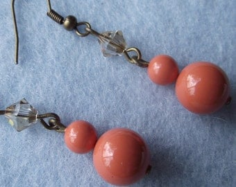 Coral Orange Pearl Dangle Earrings
