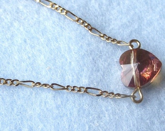 Copper Crystal Heart pearls and crystal beads on Gold Plate Chain Necklace