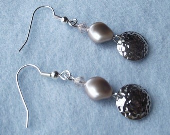 Powdered Almond Pearl and silver Dangle Earrings