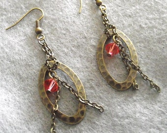 Padparadscha anitque gold drop vintage looking earrings