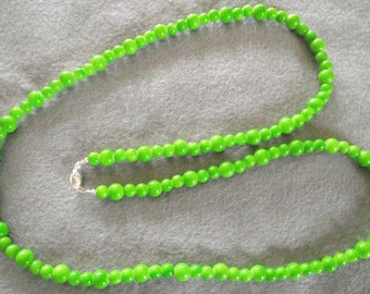 Apple Green long round beaded necklace