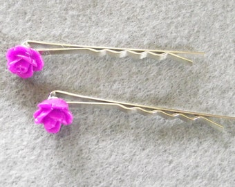 Purple flower bobby pins Set of 2-