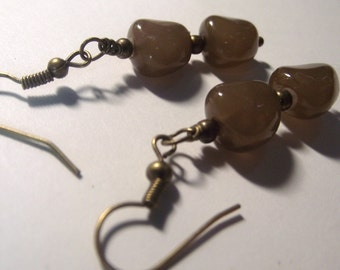 Brown Beaded Earrings with Antique Brass Bronze Ear Wires