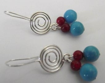 Turquoise Red Earrings on Silver plate Spiral hooks teal blue and Red