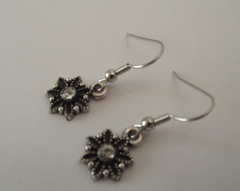 Silver Ornate earrings country flair meets bling in Silver tone