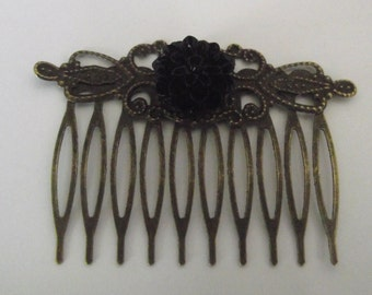 Hair Comb Scrolled Antique Bronze with black  flower