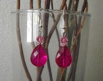 Pink Briolette Earrings Gorgeous Hot pink Wedding Beaded Earrings