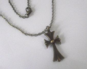 Bronze Cross necklace on bronze Chain
