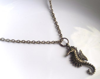 Bronze Seahorse Necklace