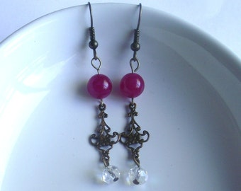 Pink Jade Earrings on Antique Bronze Findings