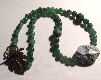 Gemstone Necklace on Antique Brass Green Aventurine and Tree Agate
