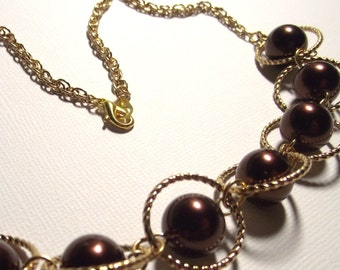 Chunky Gold Tone Chain Necklace with Pretty Chocolate Pearl Accents