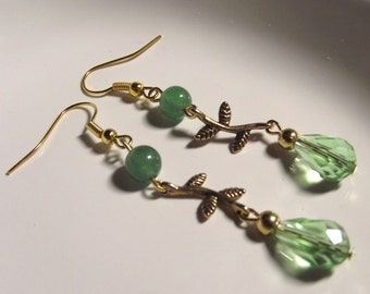 Green Vine Earrings on Gold Plate Ear Wires