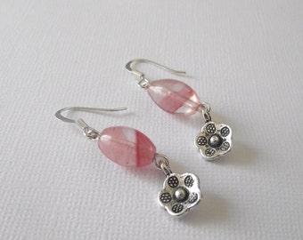 Watermelon Tourmaline Earrings with Flower charm