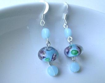 Spring Floral Earrings in baby blue
