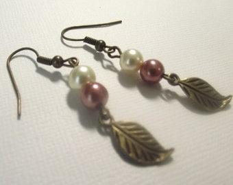 Bronze leaf and Pearl earring Dangles
