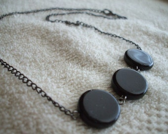 Black Circular Necklace and earrings with Black Chain