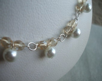 Beautiful Golden Shadow and White Pearl Necklace