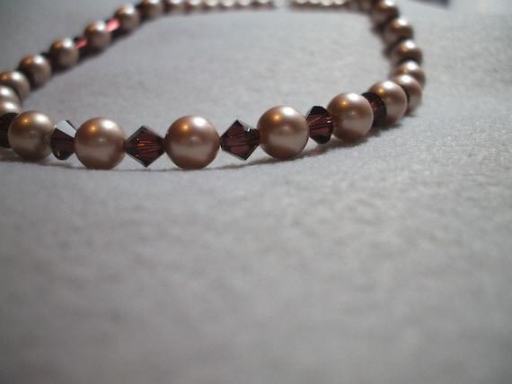 Almond Powder Swarovski Pearl necklace with Burgandy Crystals