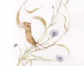 "Mouse Stretch. 11"" x 14"" Field Mouse & Flowers Print"