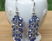 Niagara Falls. Blue Crystals Earrings with sterling silver earring wires