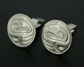 Sterling Silver Native American Cuff Links Hand-Engraved and Signed