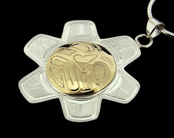 Northwest Native Sun Pendant Silver and 14K Gold Signed and Hand-Engraved