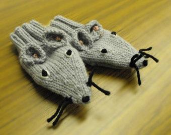Children's Hand Knit Mice Puppet Mittens Original Design Bonnie Palmer