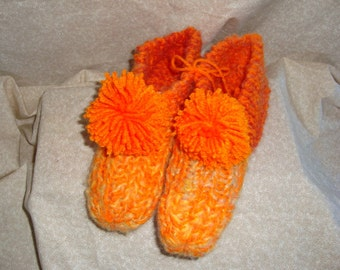 Womens Orange knitted slippers Size  8, 9, or 10