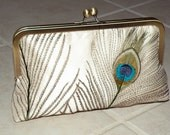 Peacock Feathers Embroidered Silk Luxury Clutch\/Purse  Ivory  w\/Chain