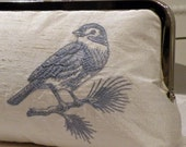 Bird On A Branch / Silk Dupioni Fabric Clutch....Custom  Embroidered / Toile Steel Blue