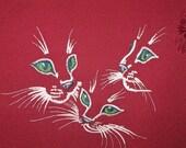 Silk Kimono Fabric Clutch/Purse/Bag..Kitten Trio...