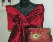 Peacock Feather Embroidered Silk Clutch/Purse/Bag..Red/w Black shot..Hands Free Wrap to match..Bridal/Wedding Gift..Hochzeit..Kupplung