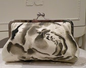 Silk Clutch/Purse/Bag..Water Color Painted Floral..matching wrap/Garden Party/Bridal/Wedding..Free Monogram