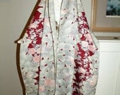 Silk Kimono Fabric Scarf/Shawl/Wrap..Long Island Bridal/Wedding Gift..Florals/Red Wine..Clutch available