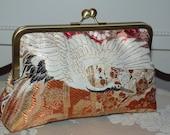 Silk Kimono Obi Fabric Clutch/Purse/Bag..Embroidered  Crane and Chrysanthemum..Bridal/Wedding/Gift/Bridal Gift