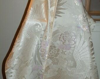 Silk Kimono Fabric Scarf/Shawl/Wrap/Shrug..Flying  Cranes..Long Island Bridal/Wedding Gift..Chrysanthemum..Clutch..Ivory/Red..Evening..Ivory