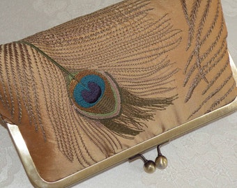 Peacock Feathers Embroidered Silk Luxury Clutch/Purse/Bag..Bridal Gift..Wedding..Gold..Silver..Ivory..Free Monogram
