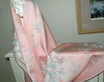 Silk Kimono Fabric Scarf/Shawl/Wrap/Shrug..Cherry Blossoms..Chrysanthemum..Folding Fans..Bridal/Wedding Gift..Clutch to match..Obi Sash