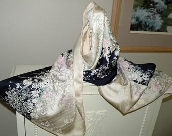 Silk Kimono Fabric Scarf/Wrap/Shawl/Shrug..Cherry Blossoms..Orchids..Roses..Midnight Blue/Ivory..Long Island Bridal/Wedding Gift..see Clutch