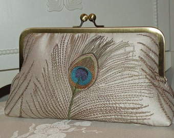 Peacock Feathers Embroidered Silk Luxury Clutch/Purse/Bag..Stone/Taupe color..Bridal/Wedding Gift..free Monogram