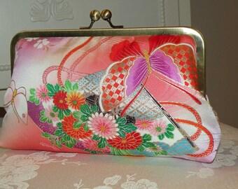 Silk Kimono Fabric Clutch/Purse/Bag.. Butterflies..Cherry Blossoms..Chrysanthemum