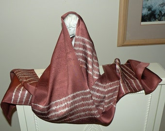 Silk Kimono Fabric  Scarf/Shawl/Wrap..Shibori..Maple Leaves..Dusty Rose