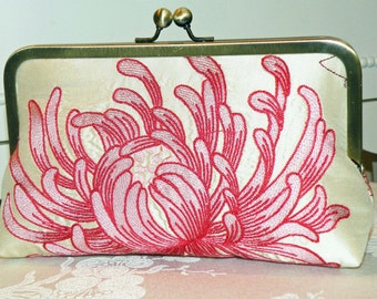 Silk Clutch Purse Bag....Embroidered Chrysanthemum...Coral/Pink..Bridal..Wedding Gift..Bridesmaid Gift