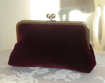 Handmade Silk Velvet Clutch/Purse/Bag..Bridal gift..Burgundy/Red Wine/Ivory/Black..matching wrap available..Free Monogram/Long Island Bride